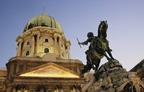 Hungary - Royal Palace with the Statue of Jeno Savoyai